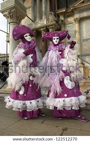 VENICE - FEBRUARY 15: Persons in Venetian costume attend the Carnival of Venice, festival starting two weeks before Ash Wednesday on February 15, 2007 in Venice, Italy.