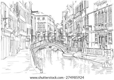 Venice - Fondamenta Rio Marin. Black & white sketch - stock photo