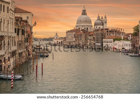 Venice from Ponte dell'Accademia in the afternoon with the Basilica di Santa Maria della Salute in background