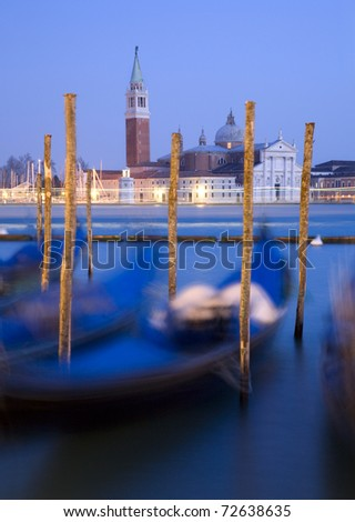 Venice - gondolas and San Giorgio di Magiore church
