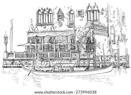 Venice - Grand Canal. Ancient building & gondola. Black & white sketch - stock photo