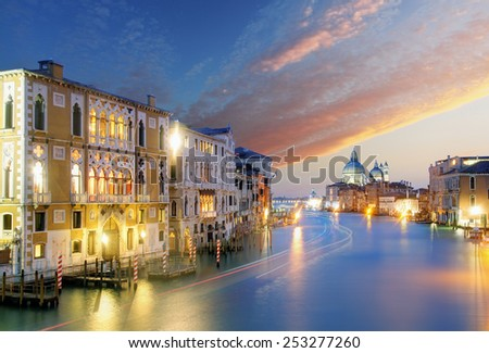 Venice - Grand Canal and Basilica Santa Maria della Salute - stock photo