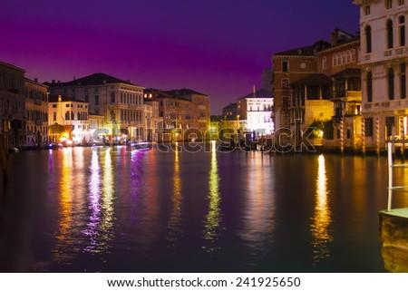 Venice grand canal by night, Italy - stock photo
