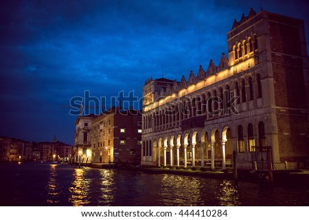 Venice Grand canal cruising during dusk and night - stock photo