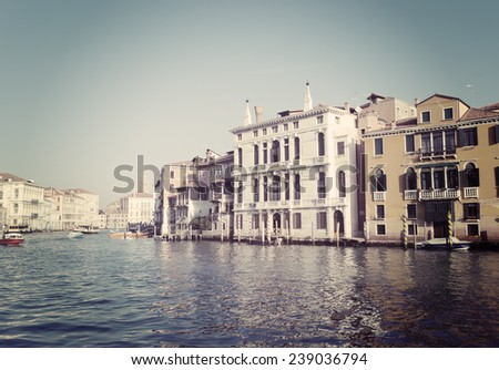 Venice grand canal in vintage tone effect. - stock photo