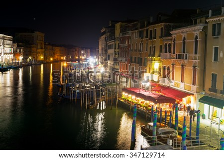 Venice Grand Canal on a clear night, Italy