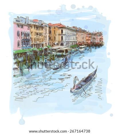 Venice - Grand Canal. The view from the Rialto Bridge - stock photo