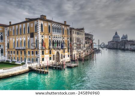 Venice Grand Canal under a gray sky - stock photo