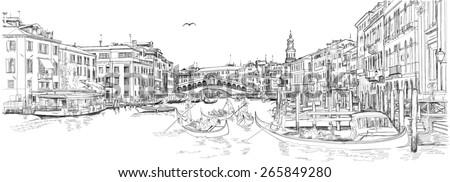 Venice - Grand Canal. View of the Rialto Bridge - stock photo