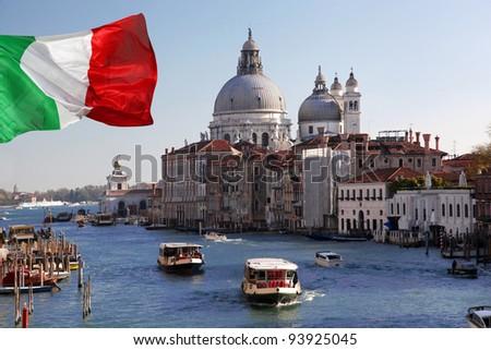 Venice, Grand Canal with Basilica Santa Maria della Salute,  Italy - stock photo