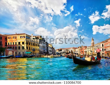 stock photo venice grand canal with gondolas and rialto bridge italy in summer bright day 110086700 - Каталог — Фотообои «Венеция»