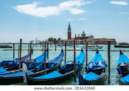 Venice in sunshine and blue sky - stock photo