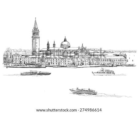 Venice - Island of San Giorgio Maggiore. Black & white sketch - stock photo