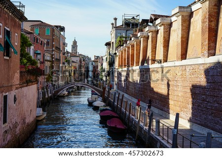 Venice,Italis-Jul.7,2016: Gondola on Canal Grande in Venice, in a beautiful summer day in Italy