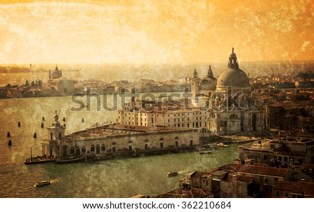 Venice (Italy). A view from above. Santa Maria della Salute domes. Retro aged photo with scratches.  - stock photo