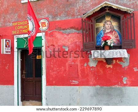 VENICE, ITALY - APR 18, 2013: Entrance of Italian Communist party office in Castello district - stock photo