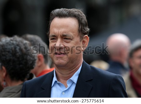 """VENICE, ITALY - APRIL 28: Tom Hanks during the filming of """"Inferno"""" of Ron Howard in Venice, Italy 28 april 2015 - stock photo"""