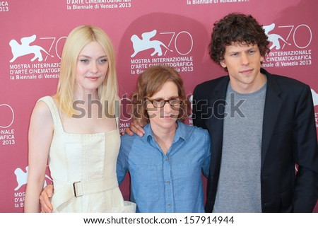 VENICE, ITALY - AUGUST 31: Dakota Fanning, Kelly Reichardt and Jesse Eisenberg attend the 'Night Moves' Photocall during the 70th Venice Film Festival on August 31, 2013 in Venice, Italy  - stock photo