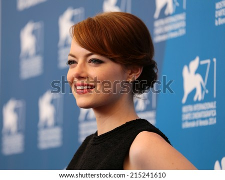 """VENICE, ITALY - AUGUST 27: Emma Stone during the photocal of the film """" Birdman """" during the 71th Venice Film Festival 2014 in Venice, Italy - stock photo"""