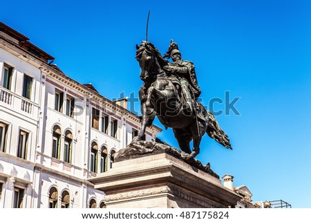 VENICE, ITALY - AUGUST 19, 2016: Famous Venice Statues & Sculptures in the historical city of Northern Italy on August 19, 2016 in Venice, Italy.