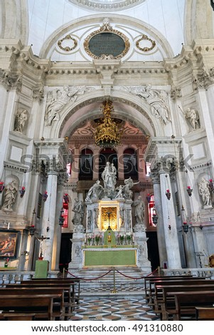 Venice, Italy - August 09, 2016 : High altar with the holy icon of Madonna and Child of the twelfth century known as Panagia Mesopantitissa at Santa Maria Della Salute Church In Venice