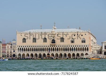 VENICE, ITALY - AUGUST 10, 2017: View of Venice's Palazzo Ducale from the Canal Grande
