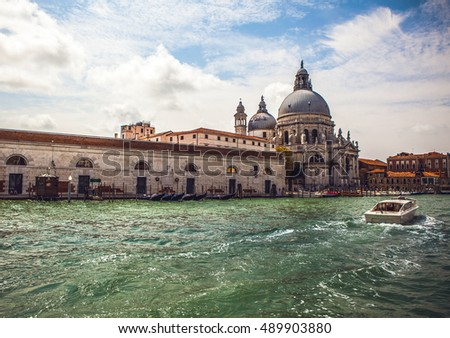 VENICE, ITALY - AUGUST 19, 2016: View on the cityscape of Grand Canal on August 19, 2016 in Venice, Italy.