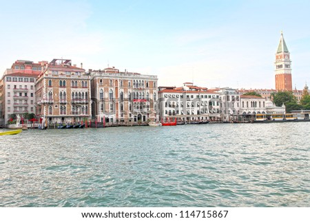 VENICE,ITALY-CIRCA JUNE 2012:Canal Grande and la Biennale building in the historical city of Venice in Italy, famous UNESCO World Heritage site, circa June 2012 in Venice, Italy