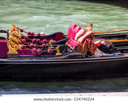 VENICE, ITALY - CIRCA SEPTEMBER 2016: HDR Gondola traditional flat bottomed rowing boat in the Venetian lagoon