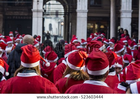 Venice - Italy - DECEMBER 20: Participants dressed as Santa Claus take part in the Santa Claus run on December 20, 2015, in Venice.