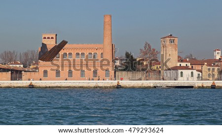 VENICE, ITALY - DECEMBER 19: University of Architecture in Venice on DECEMBER 19, 2012. Universita Iuav di Venezia founded 1926 at Giudecca Canal in Venice, Italy.