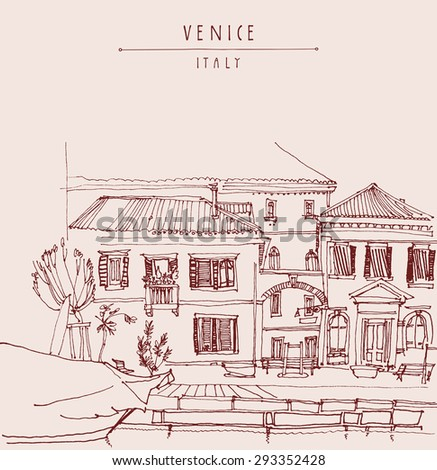 Venice, Italy, Europe. Artistic image with gondola, canal, facades. Touristic city view.  Freehand illustration postcard. Vintage poster greeting card graphic design template, hand lettering