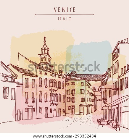 Venice, Italy, Europe. Vintage hand drawn engraved illustration. Venetian square with a cafe and a church tower. Retro style postcard greeting card template with hand lettered title. Travel sketch - stock photo