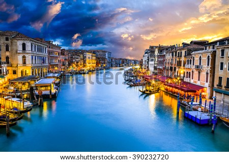 Venice, Italy. Famous Grand Canal view at twilight from Rialto Bridge, Adriatic Sea. - stock photo