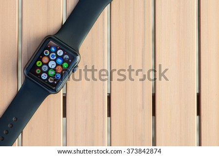 VENICE, ITALY - FEBRUARY 6, 2016: Close up image of the new apple watch sport on a table. Apple Watch is a smartwatch developed by Apple Inc, integrated with iOS and other Apple products and services. - stock photo