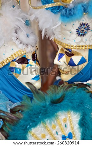 VENICE, ITALY - FEBRUARY 12: Matching couple showing affection in costume at the 2015 Venice Carnival:  February  12, 2015 in Venice, Italy - stock photo