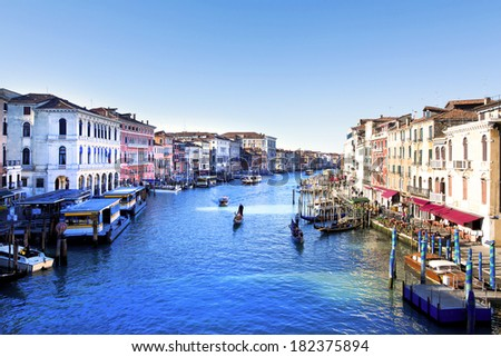 VENICE, ITALY, FEBRUARY 23, 2014: Panoramic view of Canal Grande  in Venice, Italy