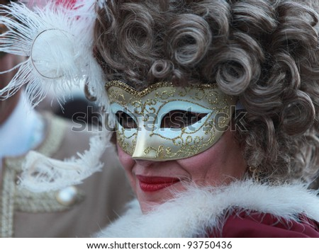 VENICE, ITALY-FEBRUARY 26:Unidentified woman in Venetian mask at St. Mark's Square participate in the Carnival of Venice on February 26, 2011. In 2012 the Carnival will be between 11- 21 February.