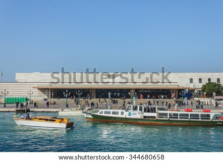 VENICE, ITALY- FEBRUARY 7, 2015: Venezia Santa Lucia train station in front of grand canal, Venice, Italy, Europe.