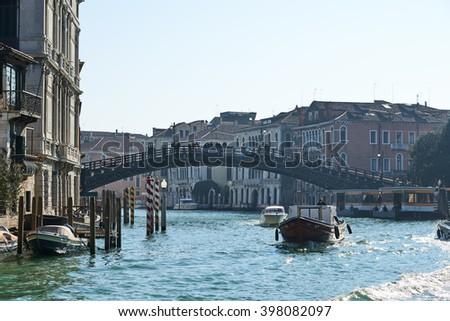 Venice, Italy - Febuary 19, 2016: Ponte dell'Accademia in Venice, a city resignated as a World Heritage site in italy. It is famous for the beauty of its settings, archtecture and artwork.