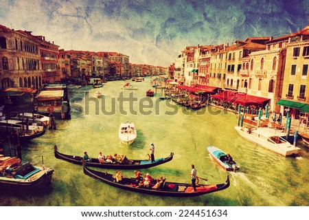 Venice, Italy. Gondolas on Grand Canal, Italian Canal Grande. View from Rialto Bridge. Vintage art, retro grunge canvas. - stock photo