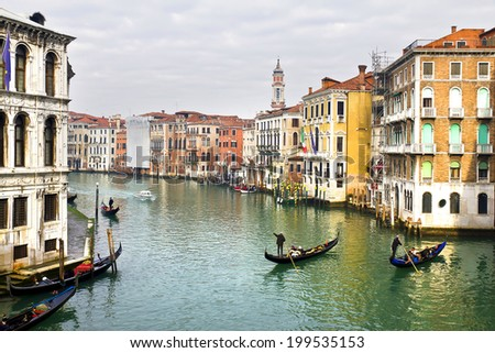 VENICE, ITALY, January 1, 2011:  beautiful view of the Canal Grande  in Venice, Italy