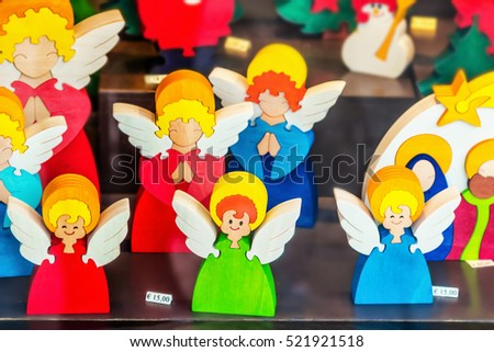 VENICE, ITALY - JANUARY 02, 2015: Toy angels as Christmas souvenirs