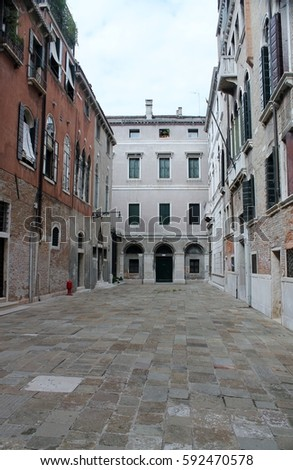 VENICE, ITALY - JULY 2014:  Italy, Europe, Venetian House on street  in Venice, Europe