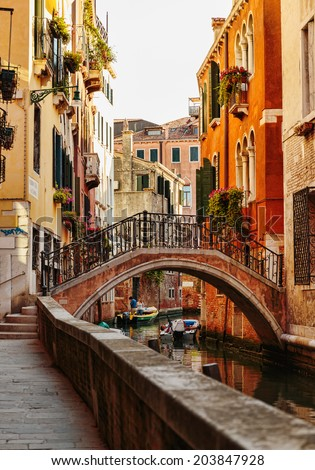 VENICE, ITALY - 26 JUNE, 2014: Canal in Venice Italy - stock photo