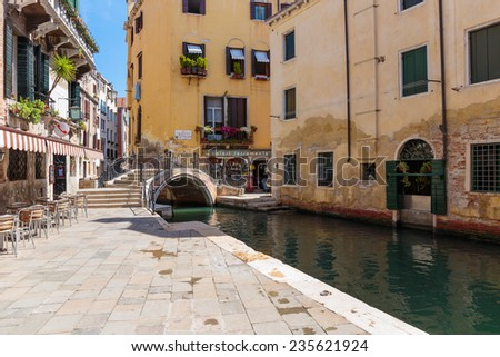 VENICE, ITALY - 26 JUNE, 2014: Canal in Venice Italy - stock photo
