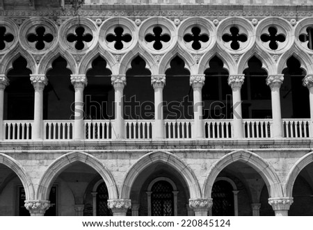 Venice, Italy, June 4 2014: Doge's Palace, in the famous central St.Mark square, Architectural detail