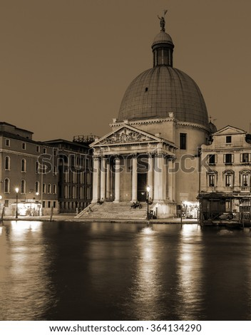 VENICE, ITALY - 26 JUNE, 2014: Grand Canal in Venice at night Old style. Sepia