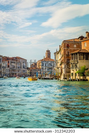 VENICE, ITALY - JUNE 29, 2015: Grand Canal scenery in antique Venice, Italy