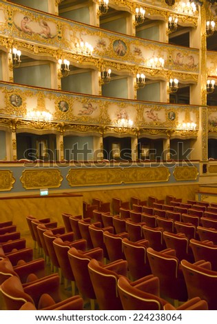 Venice, Italy, June 4 2014: Interior of La Fenice theatre, historical theatre symbol of the city